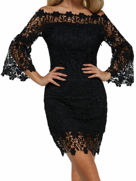 Yoins Auxo Crochet Lace Embellished Off The Shoulder Dress