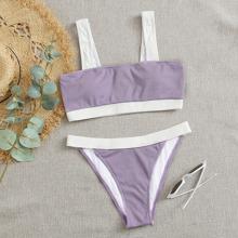 Gerippter Bikini Badeanzug mit Kontrast Bindung