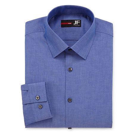 JF J.Ferrar Easy-Care Stretch Mens Long Sleeve Stretch Dress Shirt, 18.5 34-35, Blue