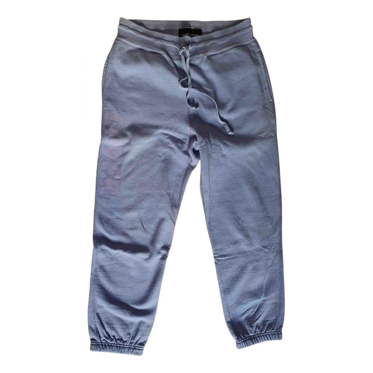 Pantalones en Algodon Gris Bianca Chandon