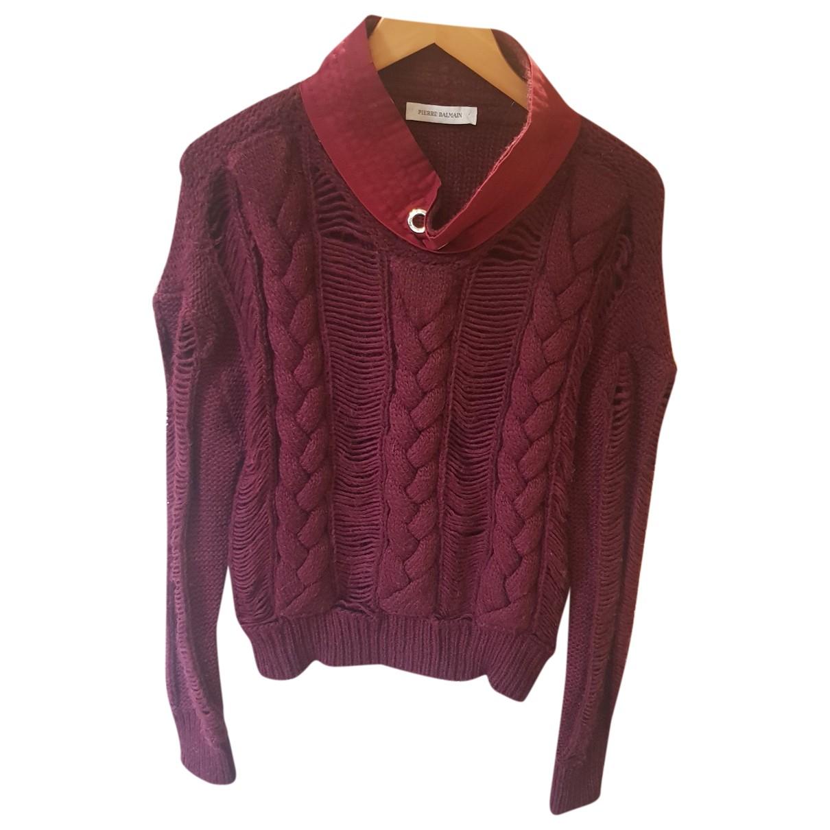 Balmain - Pull   pour femme en laine - bordeaux