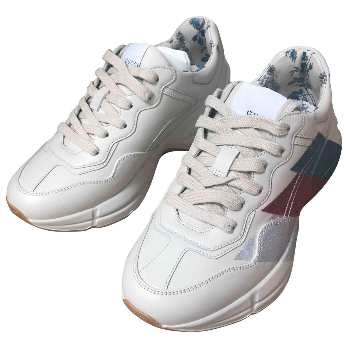 Gucci - Baskets Rhyton pour femme en cuir - blanc