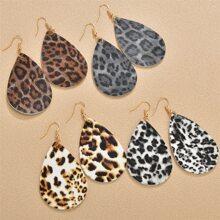 4 Paare Ohrringe mit Leopard Design