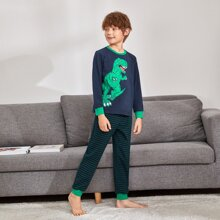 Boys Dinosaur Print Top & Striped Pants PJ Set