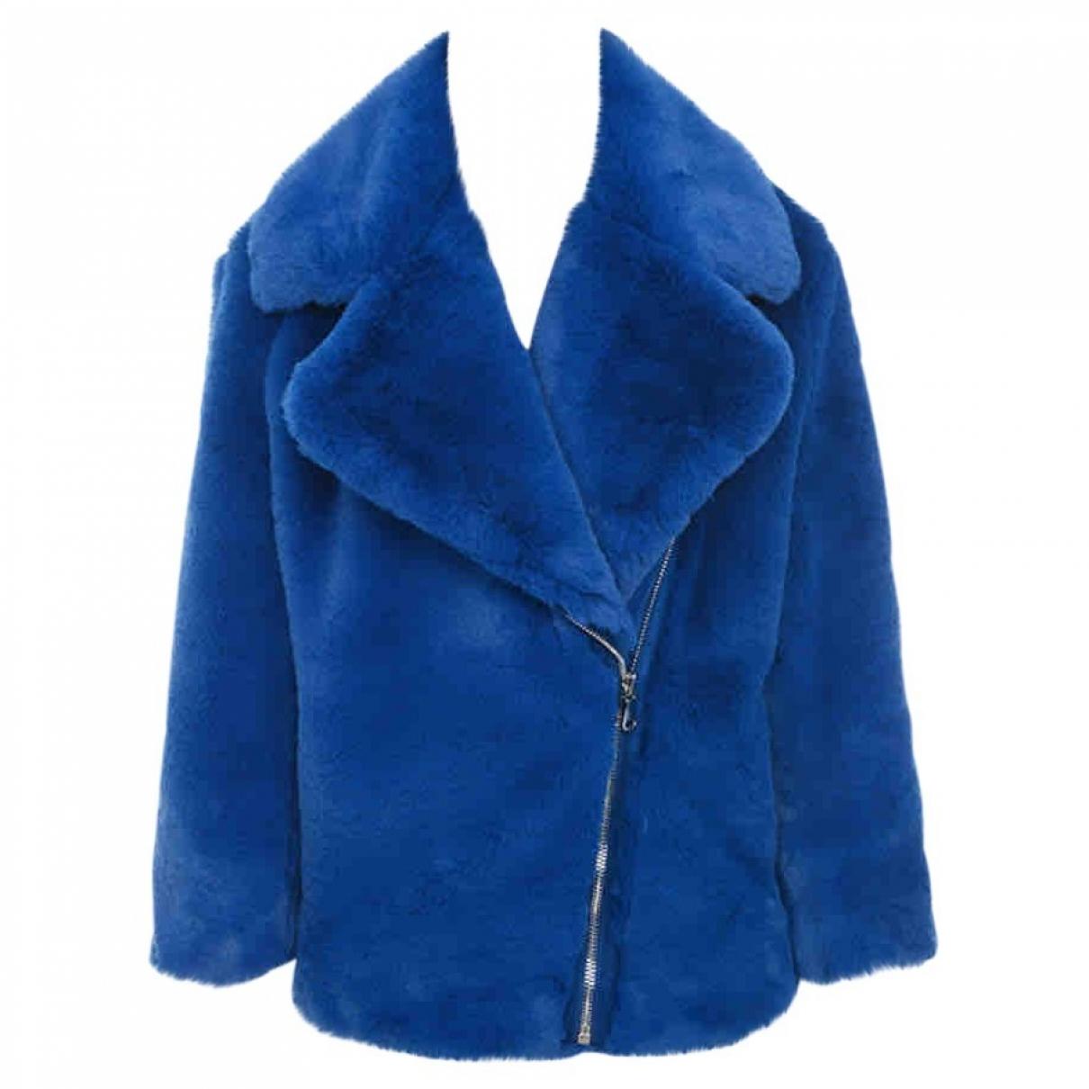House Of Cb - Manteau   pour femme en fourrure synthetique - bleu