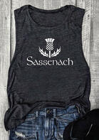 Sassenach Onopordum Acanthium O-Neck Tank - Dark Grey