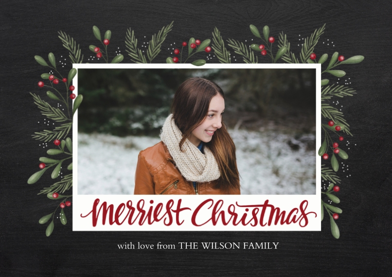 Christmas Photo Cards Flat Glossy Photo Paper Cards with Envelopes, 5x7, Card & Stationery -Festive Greens