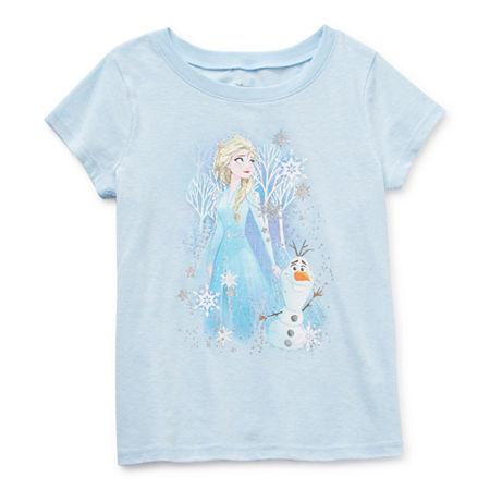 Disney Little & Big Girls Crew Neck Frozen Short Sleeve Graphic T-Shirt, Xs (4) , Blue