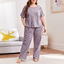Plus Floral Print Tee & Pants PJ Set