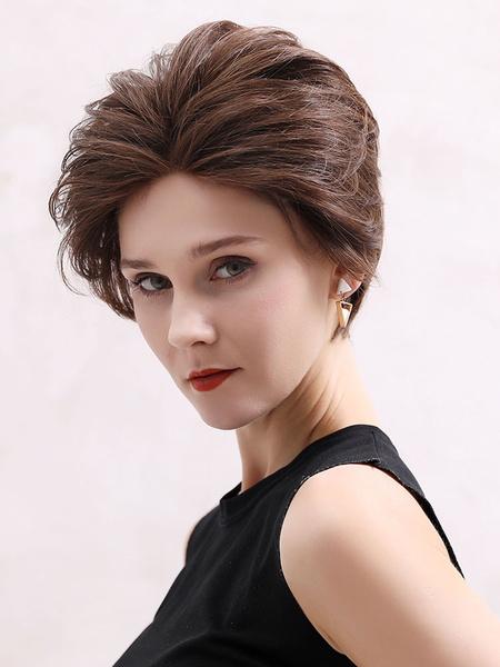 Milanoo Human Hair Wigs For Women Coffee Brown Mixed Hair Tousled Glamorous Short Human Hair Wigs