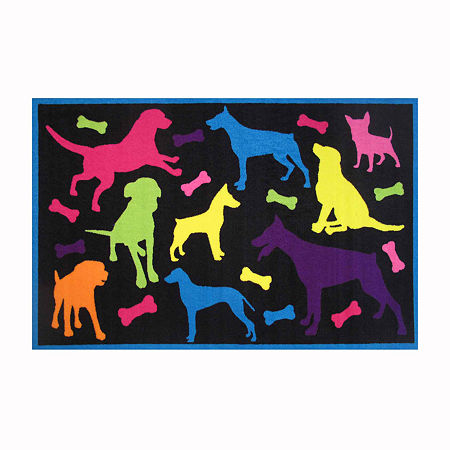 Bow Wow Rectangular Indoor Rugs, One Size , Black