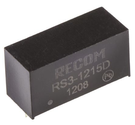Recom RS3 3W Isolated DC-DC Converter Through Hole, Voltage in 9 → 18 V dc, Voltage out ±15V dc