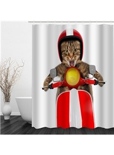 3D Cat Riding Electric Bike Pattern Polyester Waterproof Antibacterial and Eco-friendly Shower Curtain