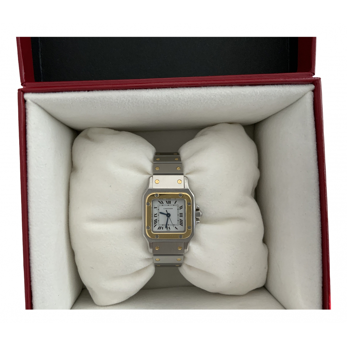Cartier Santos Galbée Silver gold and steel watch for Women \N