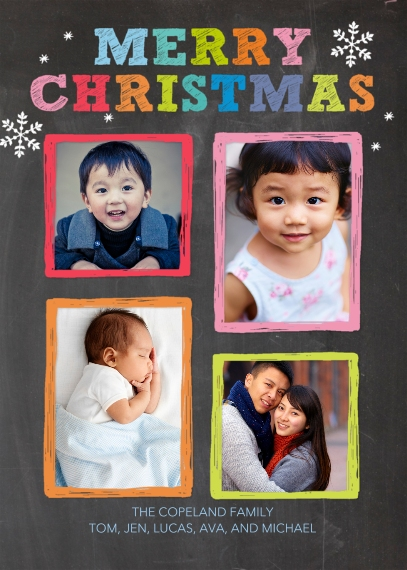 Christmas Photo Cards 5x7 Folded Cards, Standard Cardstock 85lb, Card & Stationery -Christmas Coloful Frames