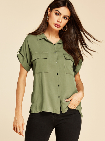 YOINS Army Green Lapel Collar Button Design Pockets Blouse