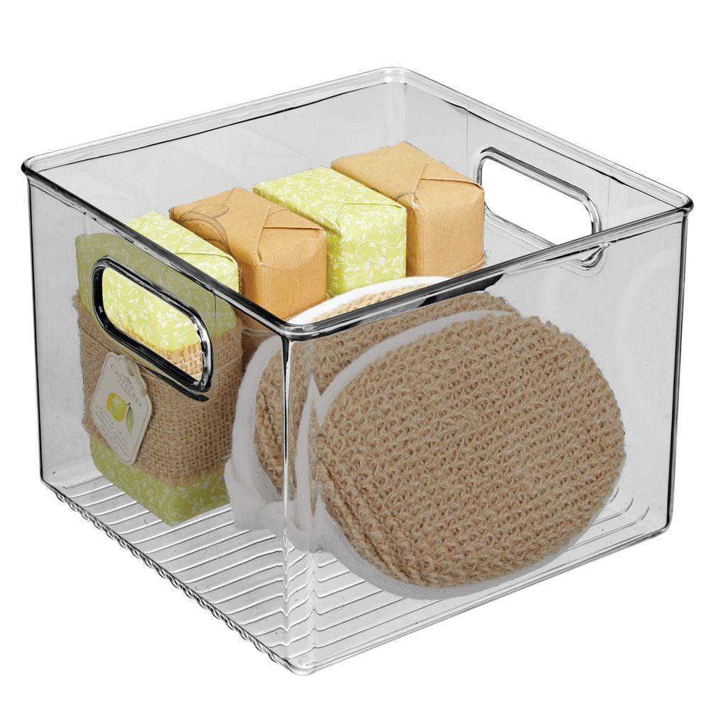 Plastic Bathroom Storage BinSmoke in Gray, 8