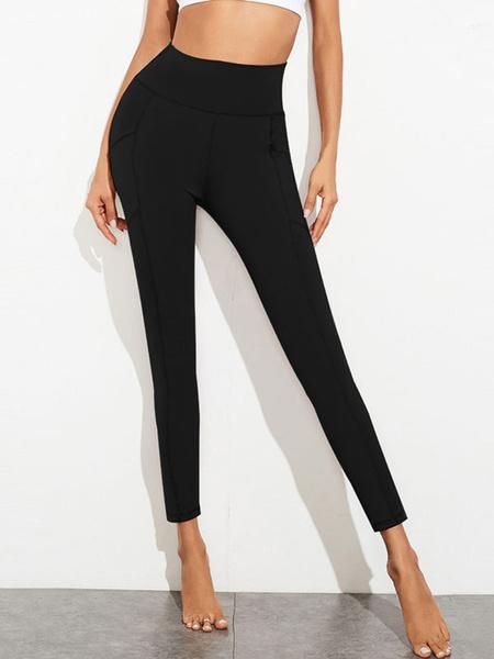 Milanoo Pantalones de mujer Pantalones deportivos ajustados de cintura alta de poliester negro Leggings con bolsillos