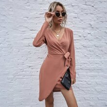 Solid Wrap Knotted Dress