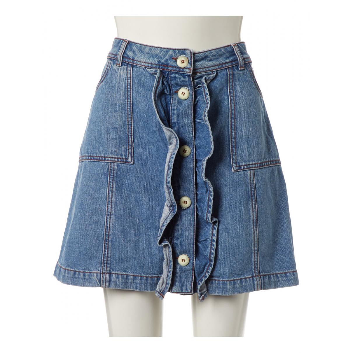 Ganni N Blue Cotton skirt for Women 38 IT