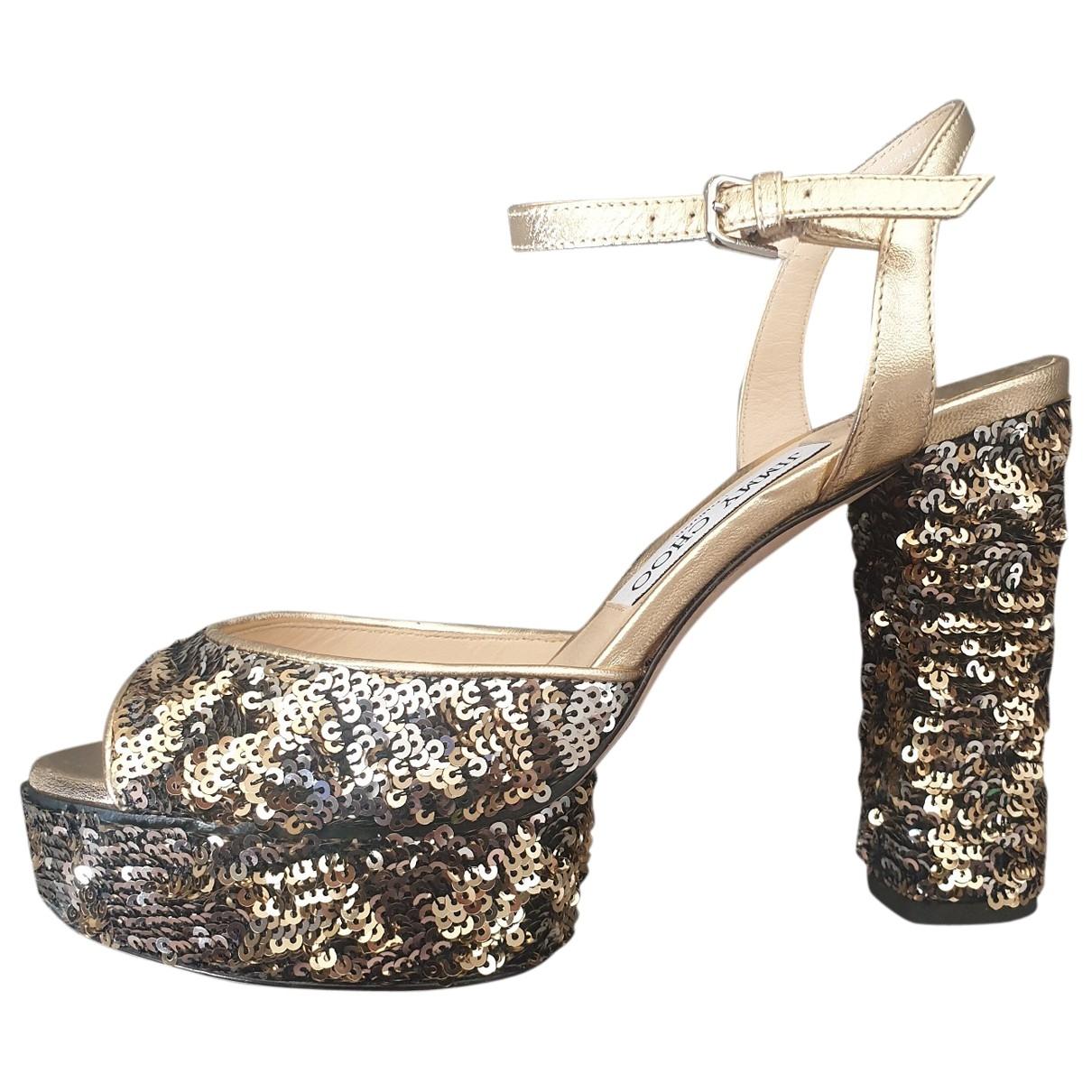Jimmy Choo \N Gold Glitter Sandals for Women 37 EU