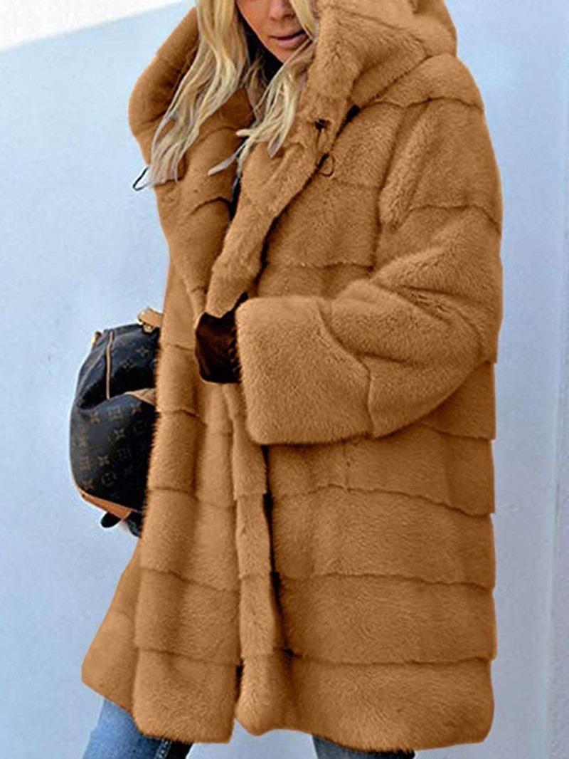 Ericdress Plain Mid-Length Hooded Slim Winter Faux Fur Overcoat