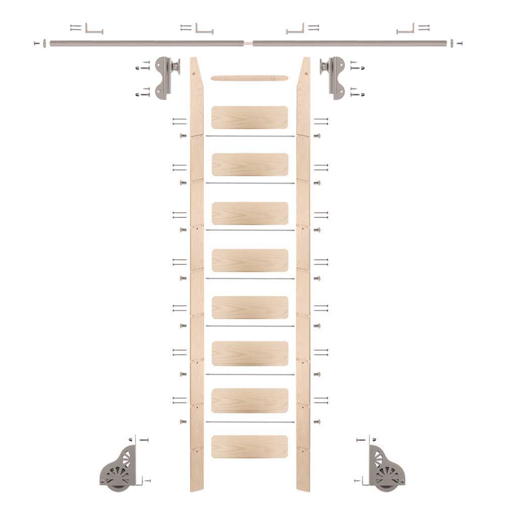 Rolling Hook 9-Foot Maple Ladder Kit with 8-Foot Rail and Horizontal Brackets, Satin Nickel
