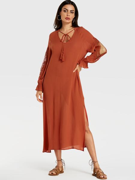 YOINS Orange Crochet Lace Embellished Scoop Neck Tassel Details Dress