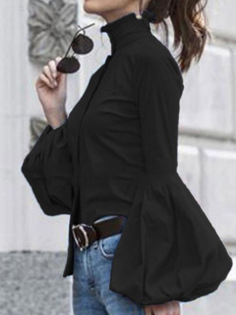 Ericdress Lantern Sleeve Plain Stand Collar Long Sleeve Mid-Length Blouse