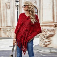 Pullover mit V Ausschnitt und Fransen