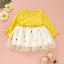 Baby Maedchen Kleid mit Rueschenbesatz, Kontrast Netzstoff und Ananas Stickereien