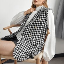 Zweireihige Tweed Weste mit ausgestelltem Saum