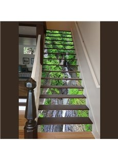 Amazing Modern Design Forest Stream Pattern Waterproof 3D Stair Steps Sticker