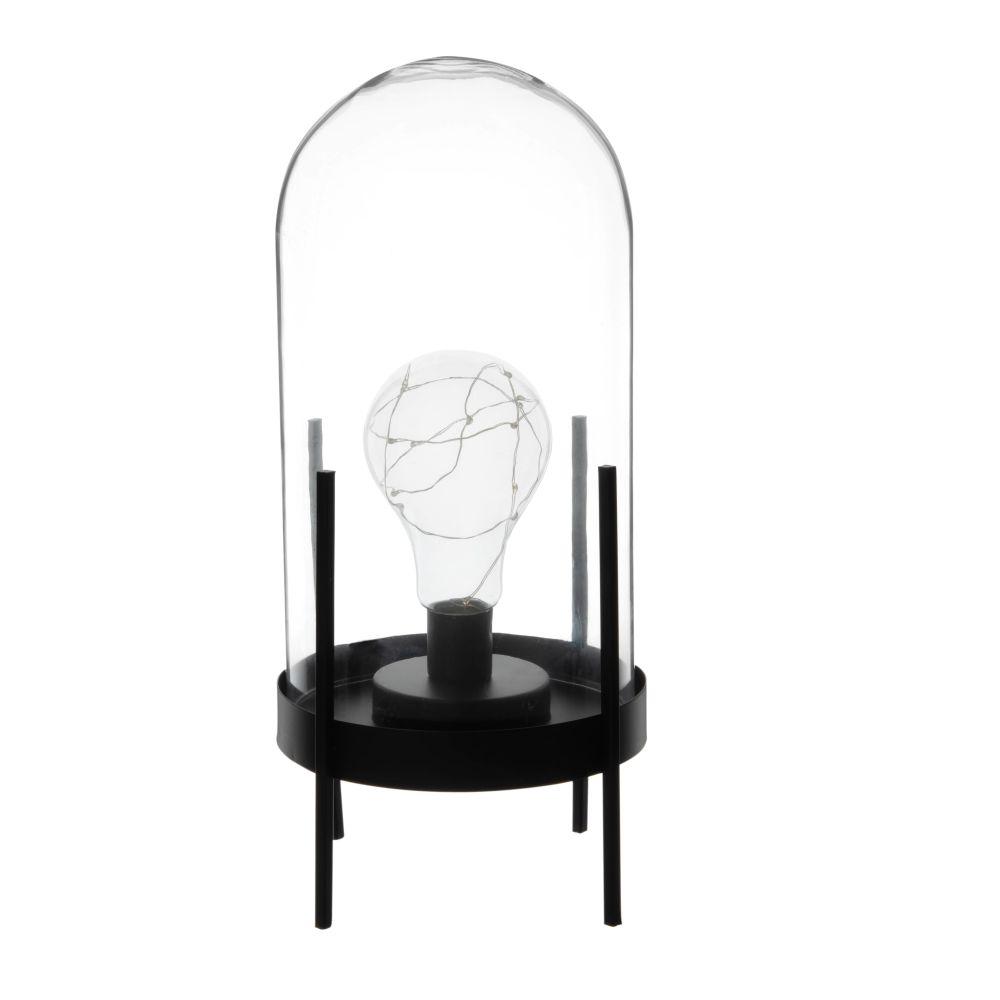 LED Glockenlampe aus Glas und schwarzem Metall