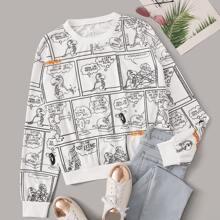 Comic Print Drop Shoulder Sweatshirt
