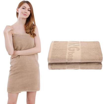 Premium 100% Cotton Bath Towel Set, 2Pcs/Pack - LIVINGbasics™ - Driftwood