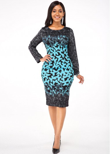 Cocktail Party Dress Round Neck Long Sleeve Butterfly Print Dress - XL