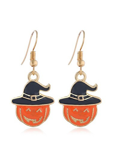 Mother's Day Gifts Orange Pumpkin Pendant Gold Metal Earrings - One Size