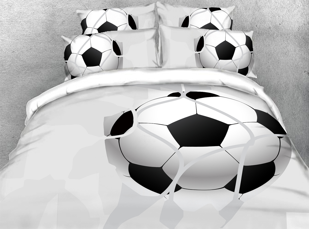 Football 3D Sporty Durable 4pcs Bedding Sets No-fading Soft Reactive Printing Zipper Duvet Cover with Ties