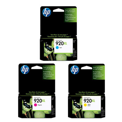 HP 920XL cartouches encre cyan/magenta/jaune originales combo à rendement élevé, 3 paquet