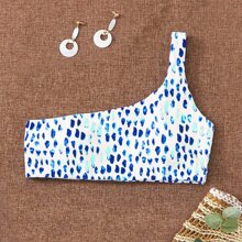 Allover Graphic One Shoulder Bikini Top