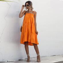 Frill Trim Tiered Layer Midi Cami Dress