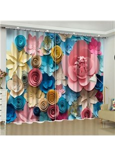3D Fancy Colorful Paper Flowers Printed 2 Panels Custom Curtain for Living Room