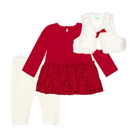 Nannette Baby Girls Long Sleeve Dress Set, 24 Months , Red