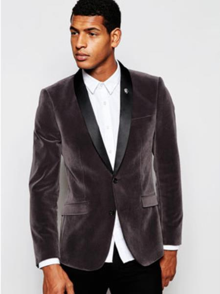 Mens Grey ~ Gray Velvet Black Lapeled Shawl Collar Jacket
