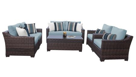 RIVER-07e-SPA Kathy Ireland Homes and Gardens River Brook 7-Piece Wicker Patio Set 07e - 1 Set of Truffle and 1 Set of Tranquil