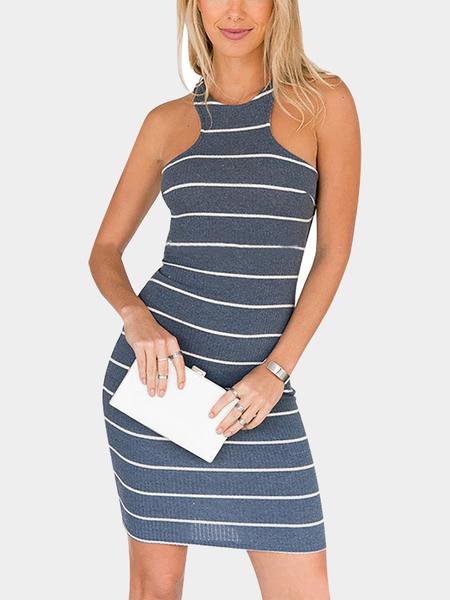 Yoins Strip Design Invisible Center Back Zipper Stretchy Lattice Straps Twisted Knit Dress