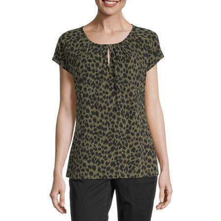 Liz Claiborne Womens Round Neck Short Sleeve Blouse, Medium , Green
