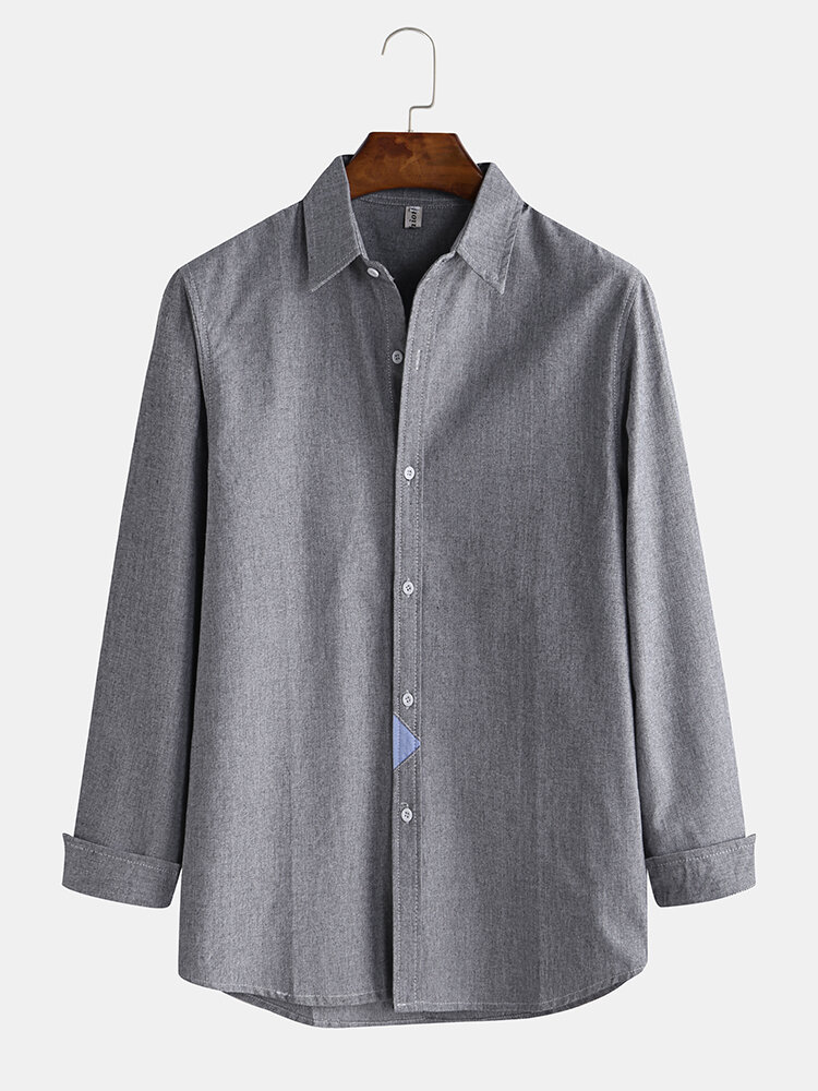 Mens Business Solid Color Vintage Embroidery Long Sleeve Shirts