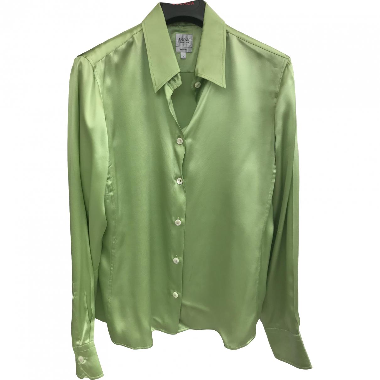 Armani Collezioni \N Green Silk  top for Women 48 IT